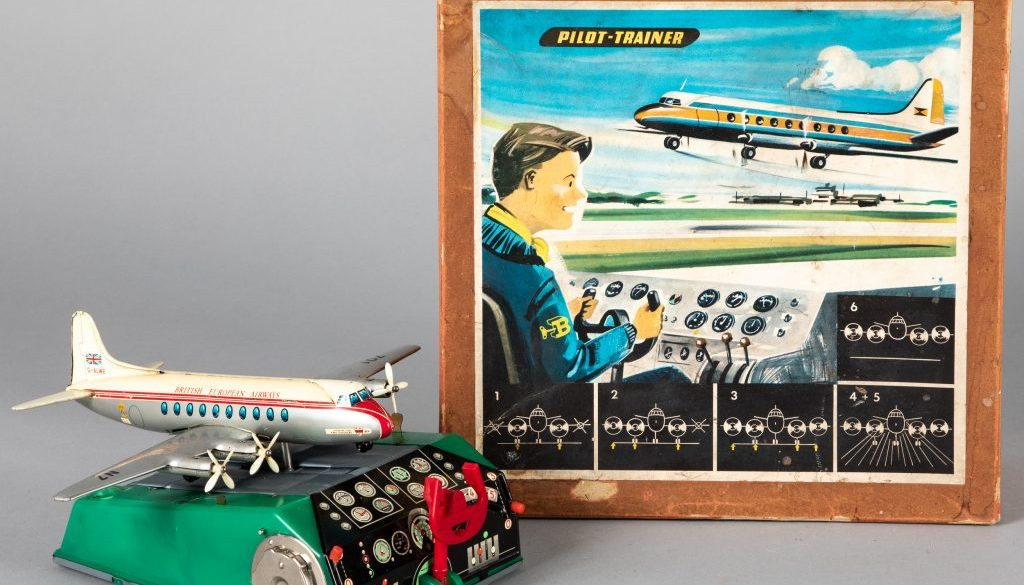 German tin lithograph battery operated Pilot Trainer